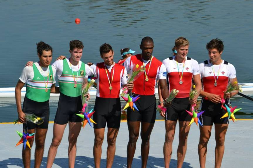 Silver for Canadian Men's 2x, Winnipeg Paul Thiessen second from right.